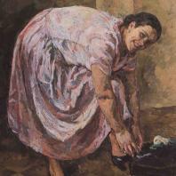 П.П. Кончаловский. Портрет Н.П. Кончаловской (в розовом). 1925 г. Москва, Третьяковская галерея