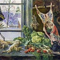 П.П. Кончаловский. Натюрморт. Мясо, дичь и овощи у окна. 1937 г. Москва, Третьяковская галерея