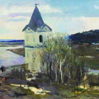 С.В. Герасимов. Пейзаж с башней. Начало весны. 1940 г. Москва, Третьяковская галерея
