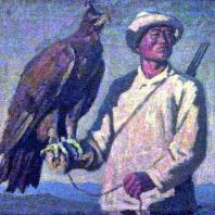 С.А. Чуйков. Охотник с беркутом. 1938 г. Фрунзе, Музей изобразительных искусств Киргизской ССР