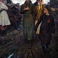 В.А. Чеканюк. Первая комсомольская ячейка на селе. 1958 г. Киев, Музей украинского искусства