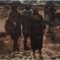 Э.К. Илтнер. Мужья возвращаются. 1957 г. Рига, Художественный музей Латвийской ССР