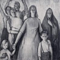 Л. Мууга. Протест против войны. Центральная часть триптиха. 1959 г. Таллин, Художественный музей